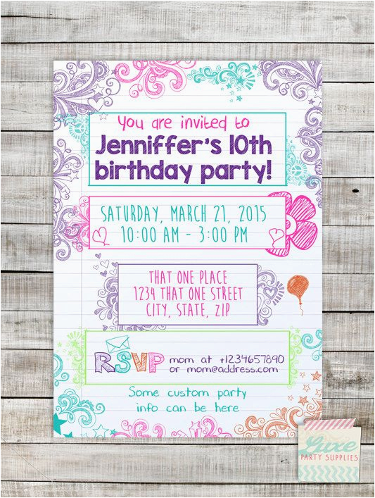 Tween Birthday Invitations Printable Free Teen Doodle Invitation Sleepover Invite