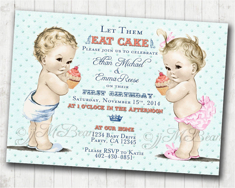 twins 1st birthday invitation for twins