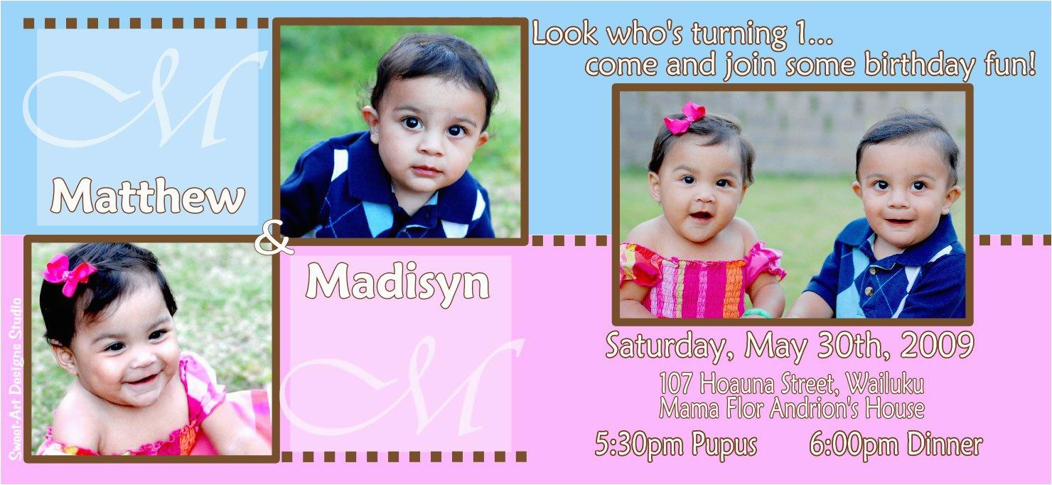 twins birthday invitation wording