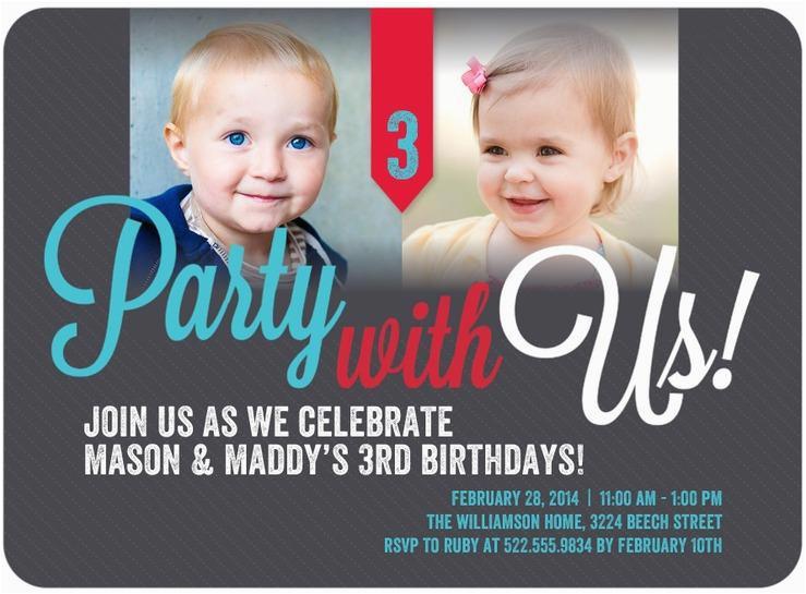Twin Birthday Invites