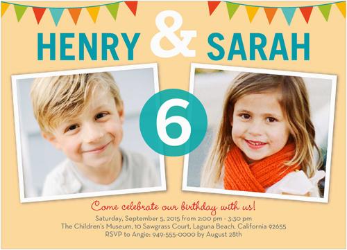 twin birthday invitation templates free