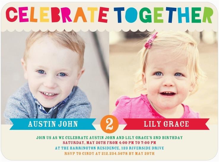 Twin Birthday Invites Twins Bday Invites Tiny Prints Mixed Gender Celebrate