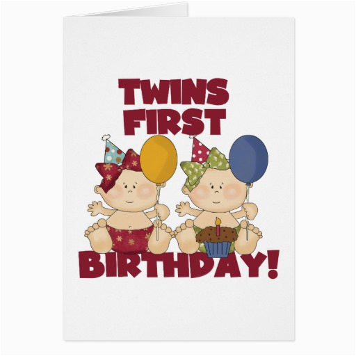 Twins 1st Birthday Card Twins 1st Birthday Girls Tshirts and Gifts Cards Zazzle