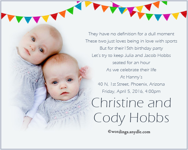 Twins 2nd Birthday Invitation Wording And Party 1st