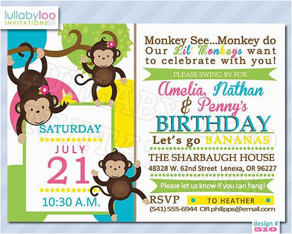 Twins 2nd Birthday Invitation Wording Monkey Invitations For Triplets By