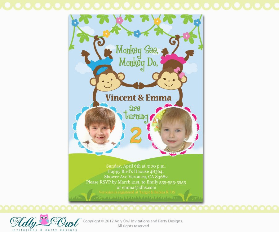 Twins 2nd Birthday Invitation Wording Personalized Twin Invite Second Card For