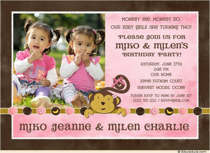 Twins 2nd Birthday Invitation Wording Sibling Monkey