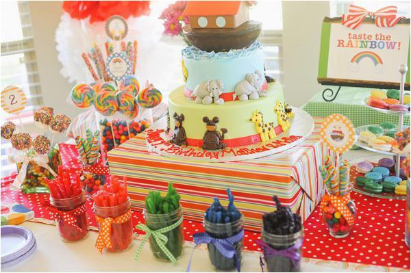 noahs ark themed twins birthday party