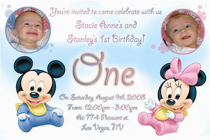 Twins First Birthday Party Invitations 12 Twin Templates Free Sample