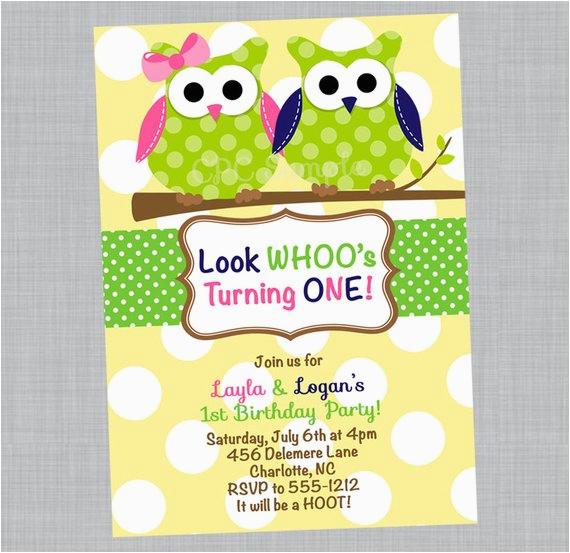 twin owl birthday invitation owl twins