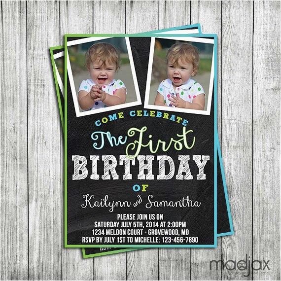 twin boys birthday invitation digital