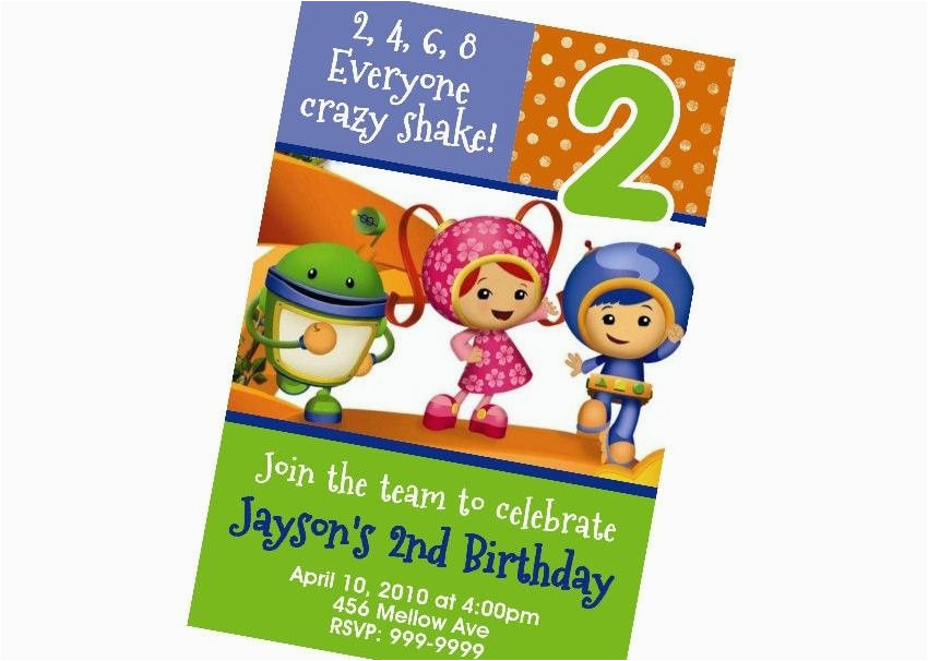 Umizoomi Birthday Invitations Custom Personalized Team Umizoomi Birthday Invitation 24hr