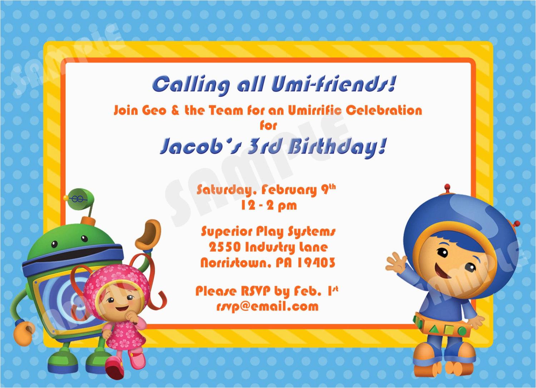 printable team umizoomi birthday invitation 4x6 by