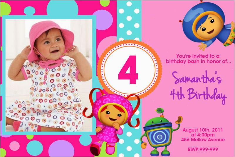 team umizoomi birthday invitations u print 24hr service
