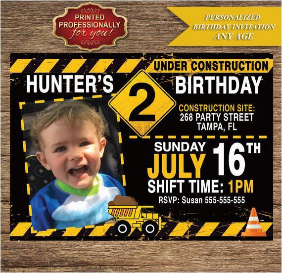 Under Construction Birthday Invitations Under Construction Birthday Invitation Personalized Photo