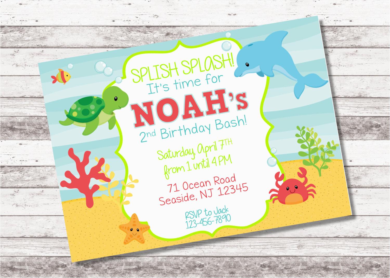Under The Sea 1st Birthday Invitations Boy 39 S Invitation 2nd