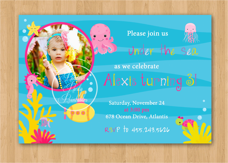 girl under the sea birthday invitation