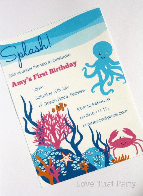 ocean under the sea invitation printable