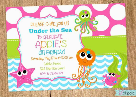 Under The Sea Birthday Party Invitations Free Printable Girls Invitation By