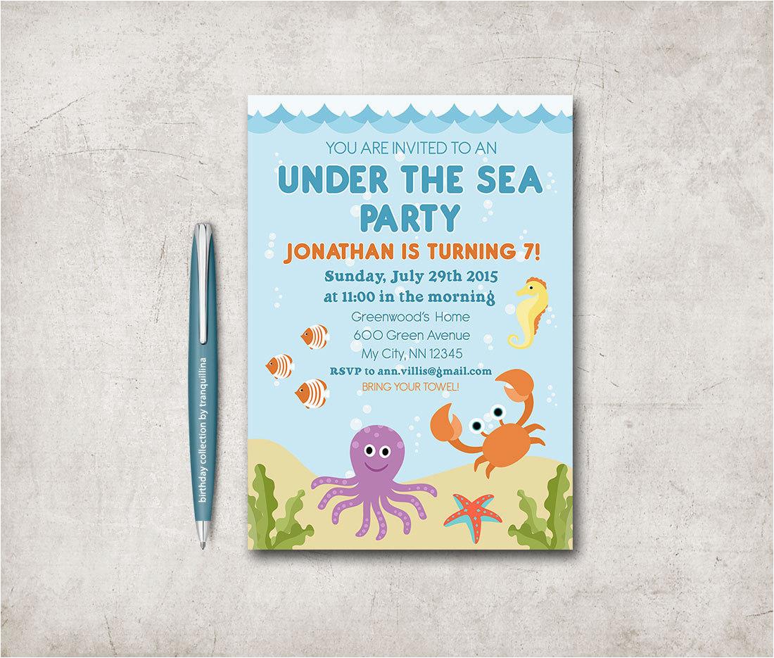 Under The Sea Birthday Party Invitations Free Printable Invitation Beach Baby