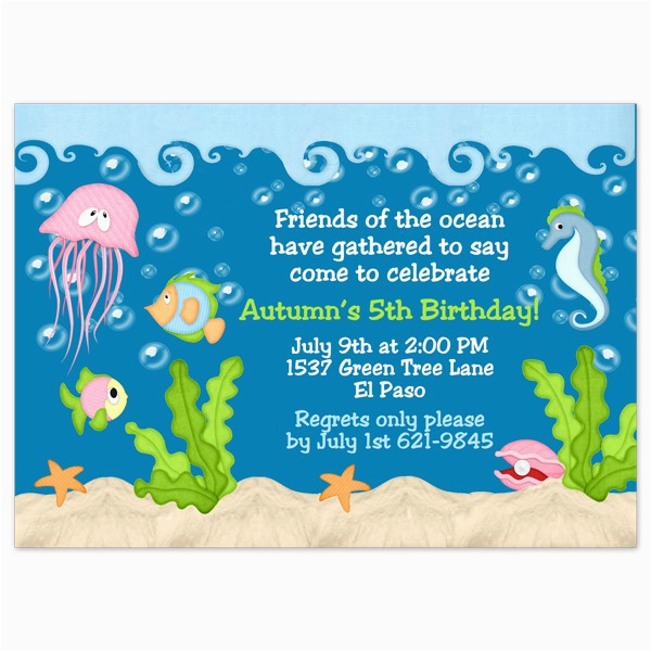 Under The Sea Birthday Party Invitations Free Printable Wording