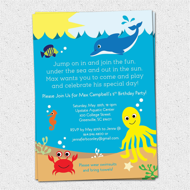 Under The Sea Birthday Party Invitations Free Printable Birthdaybuzz