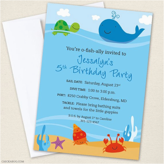 Under The Sea Birthday Party Invitations Free Printable Professionally Printed
