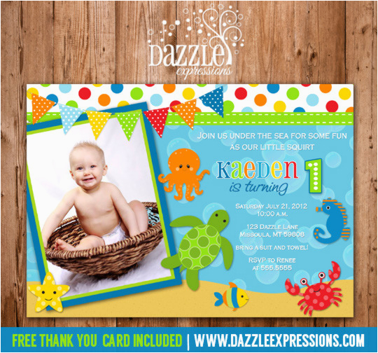 under the sea birthday invitation 2 free thank you card included