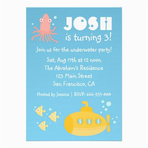birthday party underwater theme with submarine invitation 161544733439822449