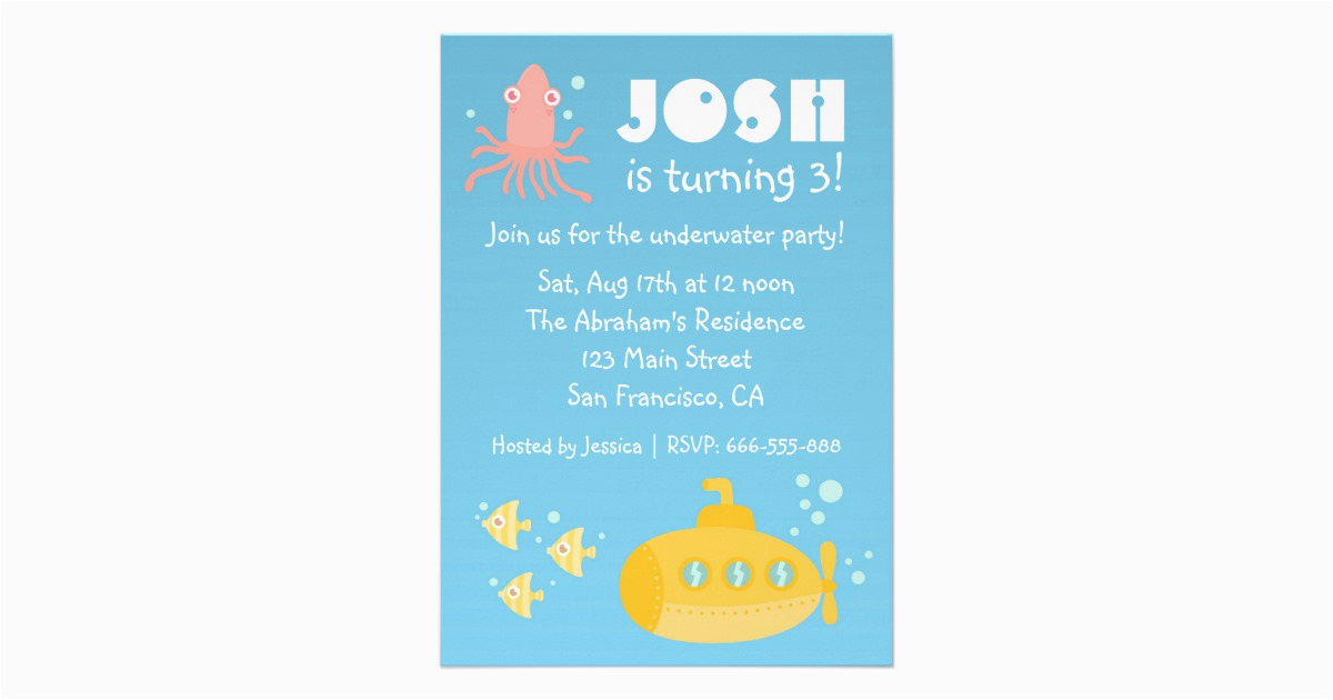 birthday party underwater theme with submarine custom invites 161544733439822449