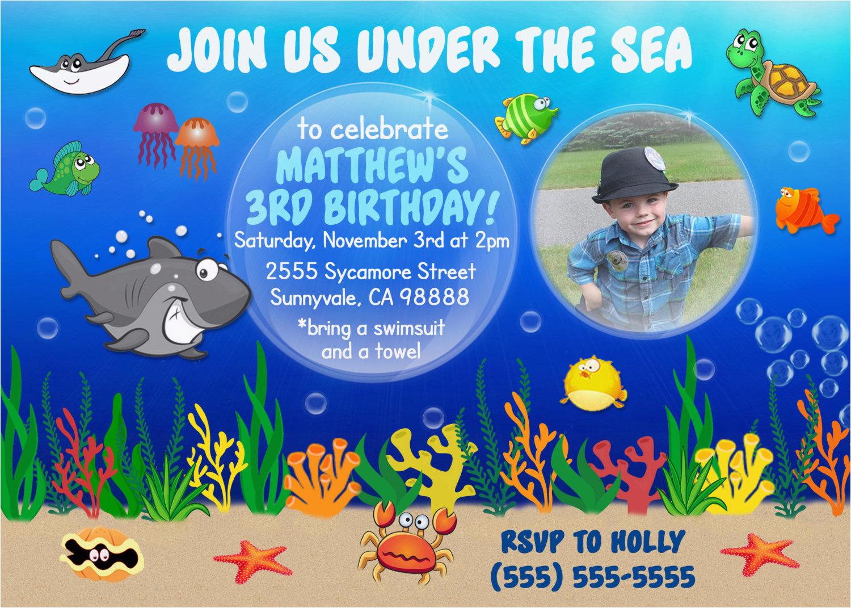 digital underwater birthday invite