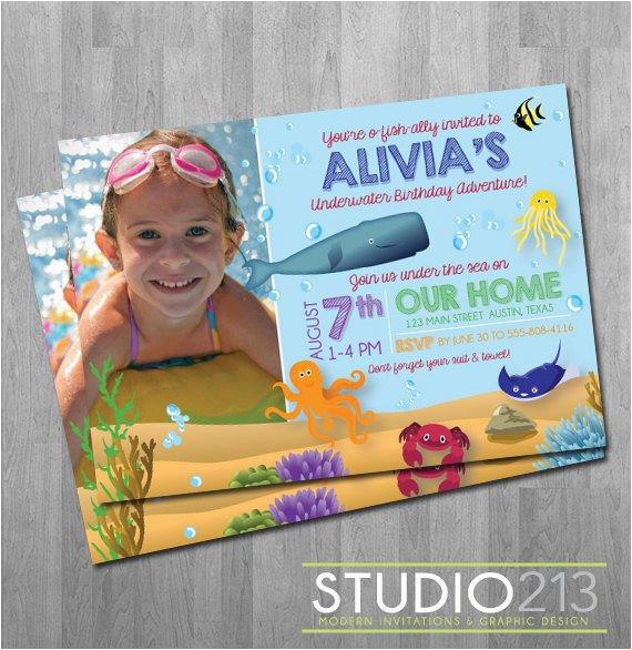 underwater birthday invitations water
