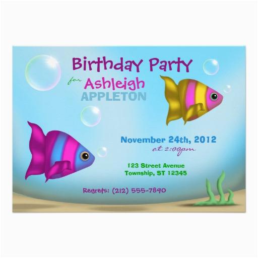 underwater fish kids birthday party invitations 161296401660569210