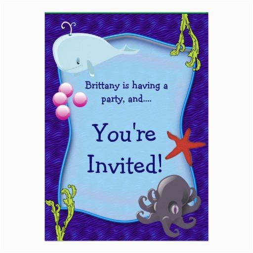 underwater sea marine birthday party invitation 161617001093511820