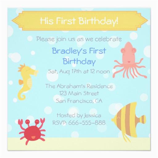 underwater theme birthday invite 161987288784265901