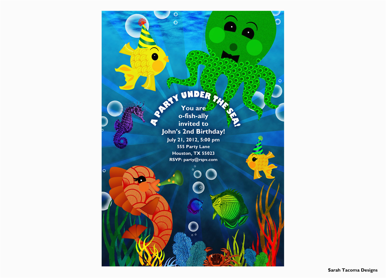 underwater themed birthday invitations