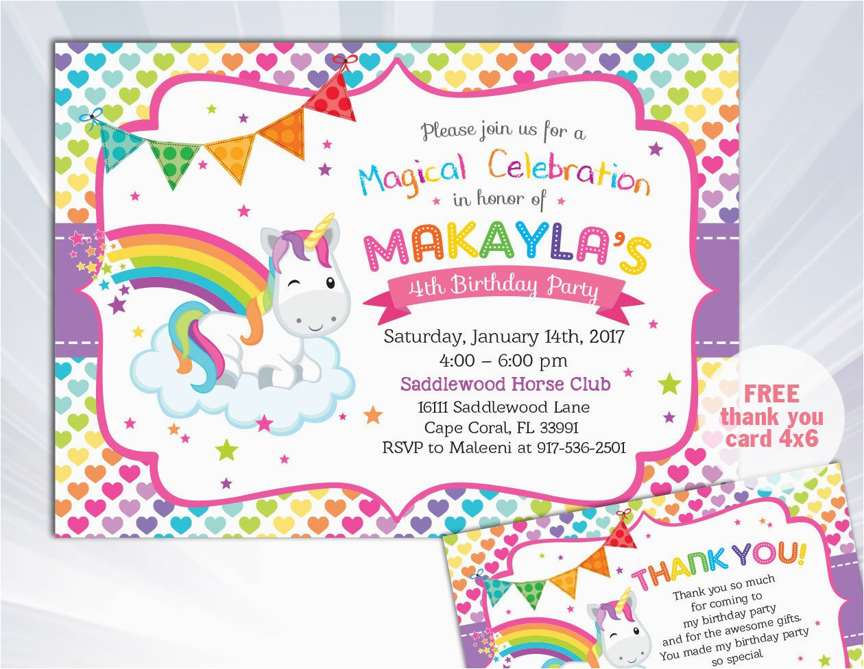 Unicorn Birthday Invitation Wording Rainbow