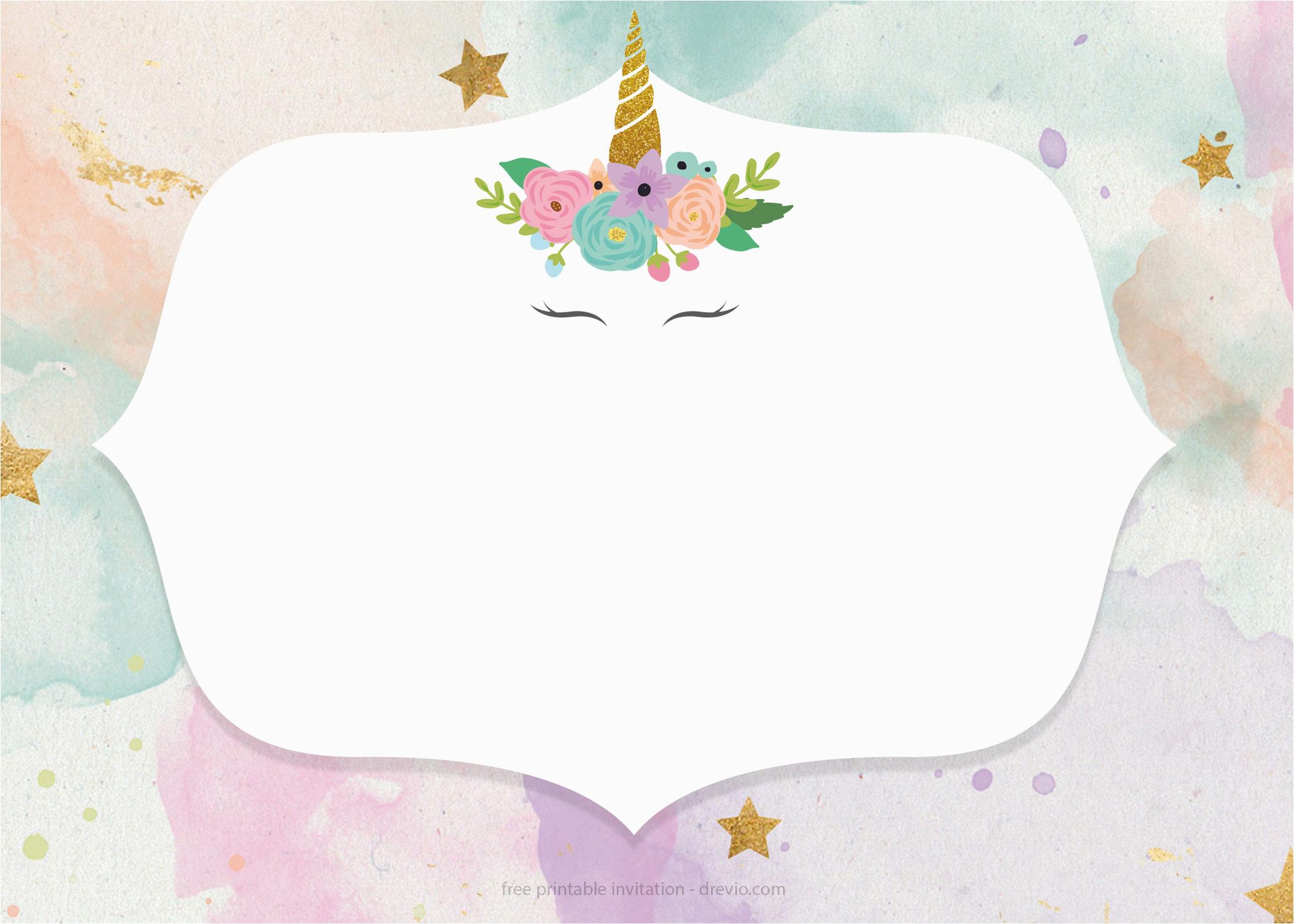 Unicorn Birthday Invitations Online Free Invitation Templates Pastel Color