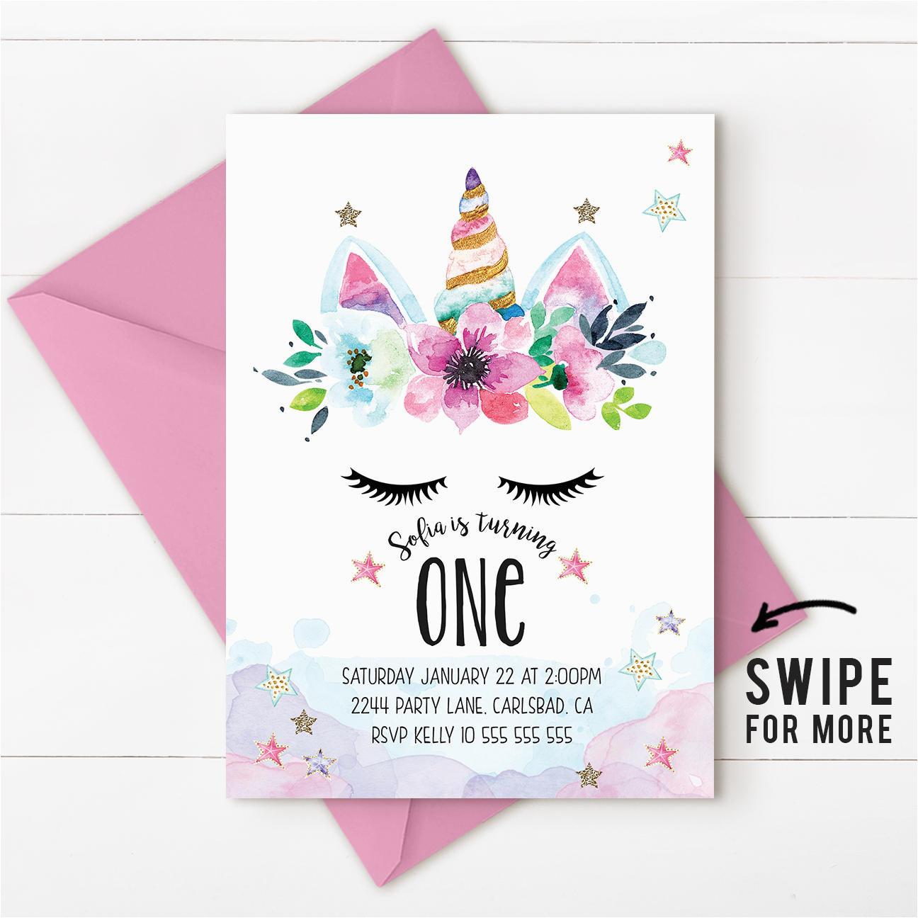 Unicorn Birthday Invitations Online Unicorn Birthday Invitation