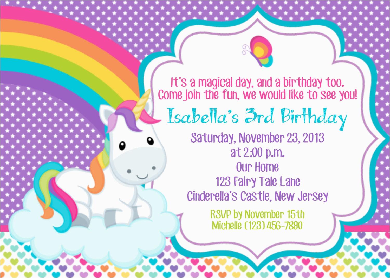 Unicorn Birthday Invitations Online Unicorn Invitation Personalized