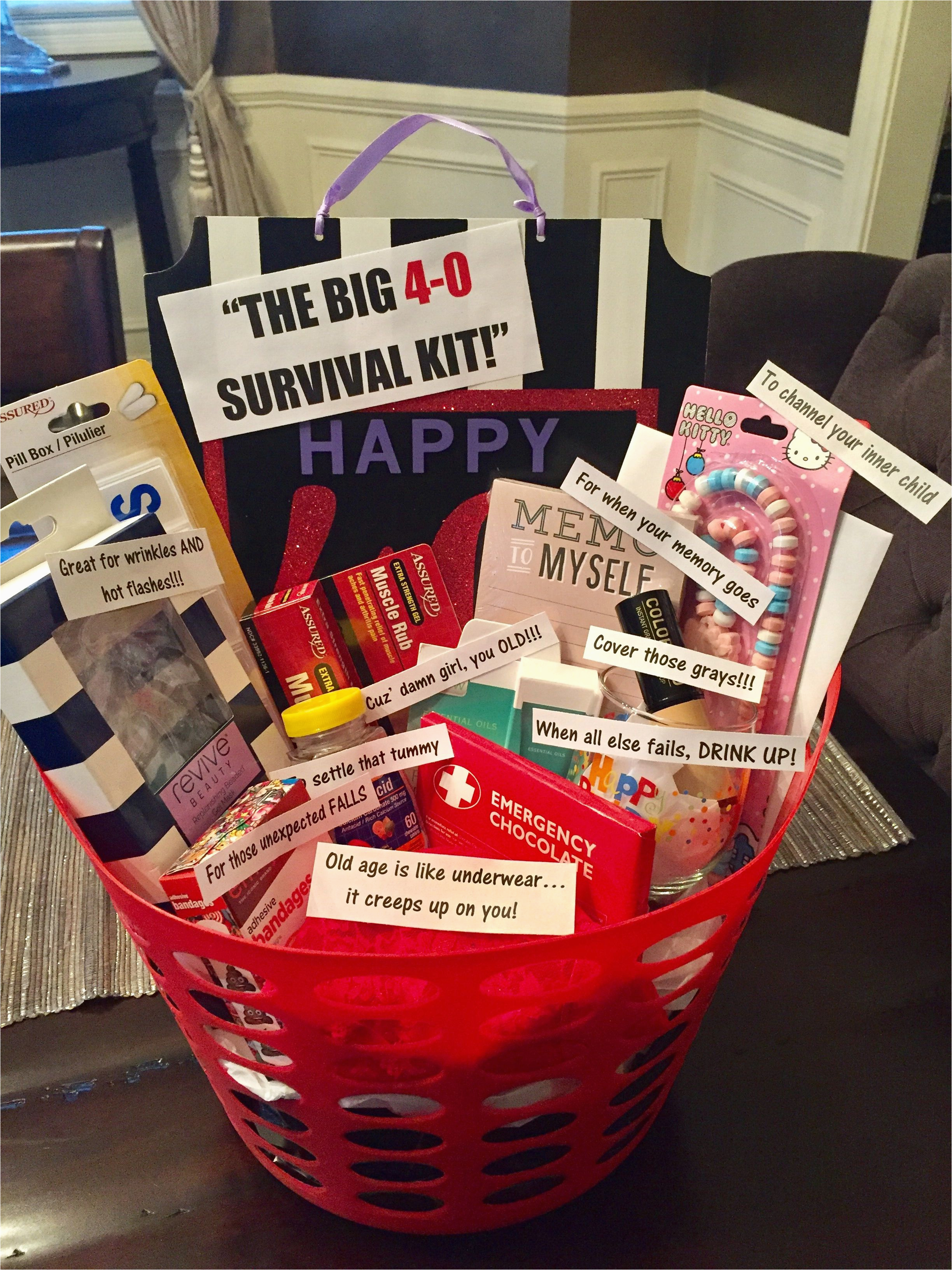 40th birthday survival kit for a woman most things from