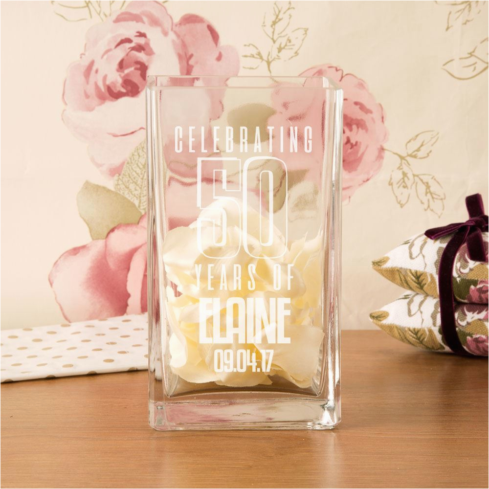 Unique Birthday Gifts For Her 50th Customised Square Glass Vase Gift