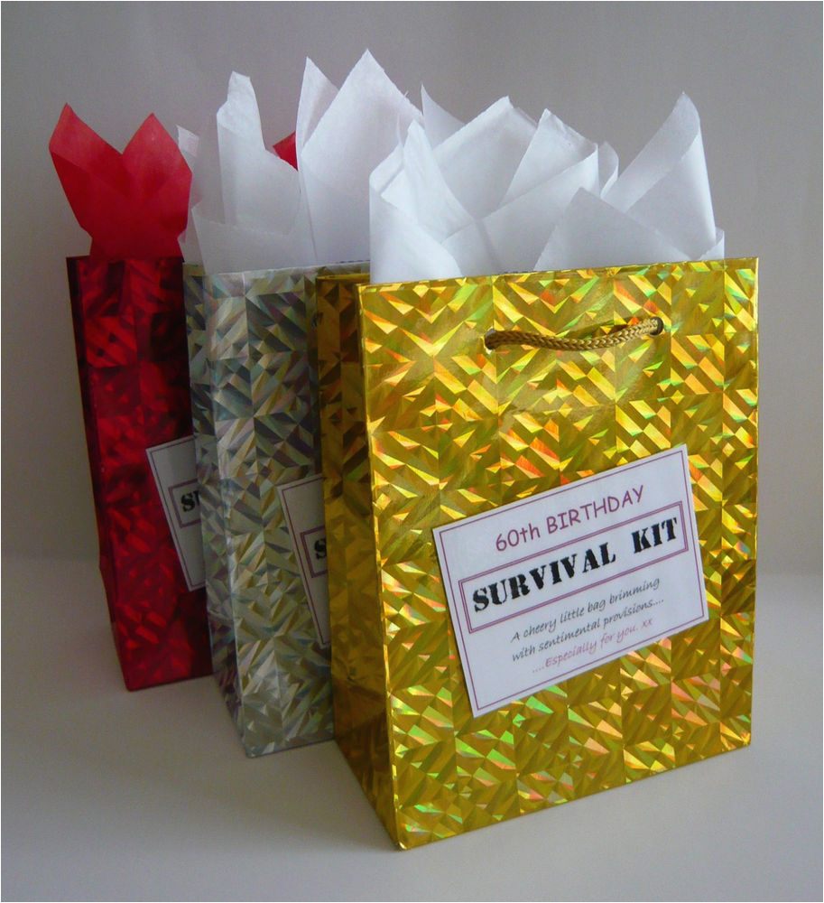 female 60th birthday survival kit humorous gift idea