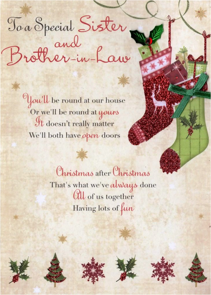 Verses For Sisters Birthday Card Sister Brother In Law Christmas Greeting