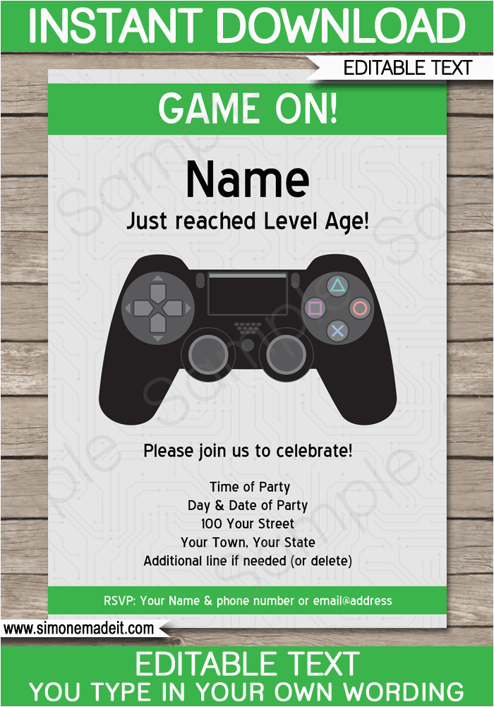 Video Game Birthday Party Invitation Template Free Playstation Invitations