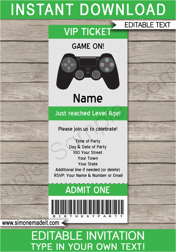 video game party ticket invitation