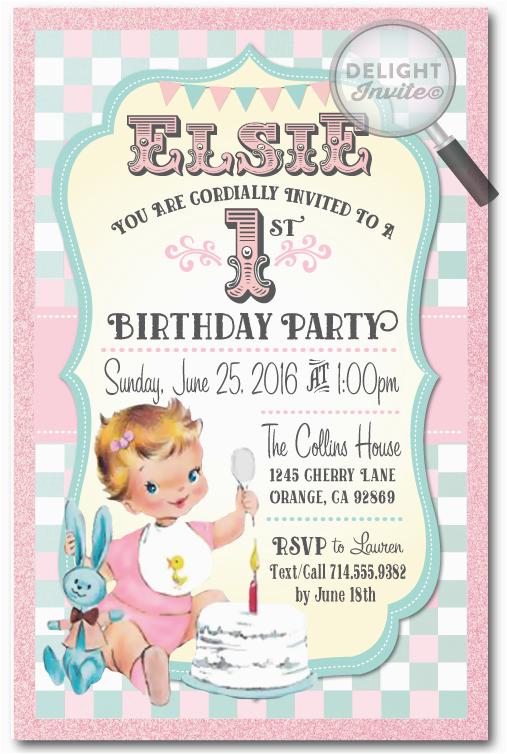 retro vintage baby 1st birthday invitations di 230
