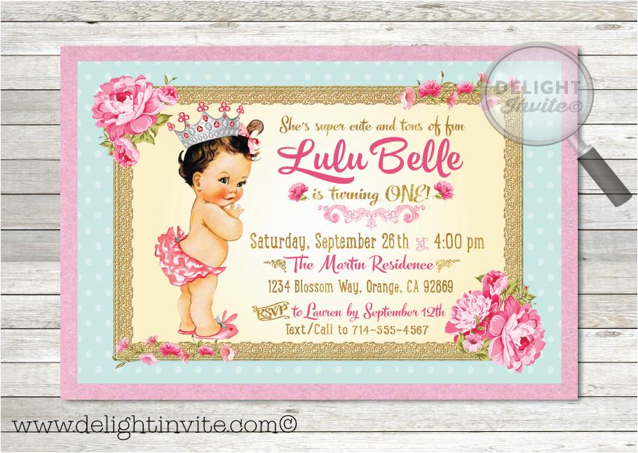 vintage 1st birthday party invitation di 230 custom
