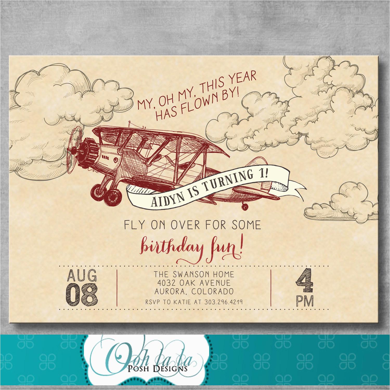 vintage airplane invitation first birthday 1st retro old