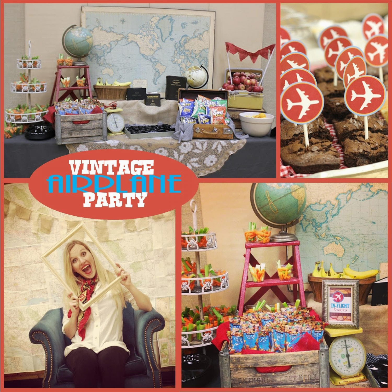 vintage airplane party printable collection